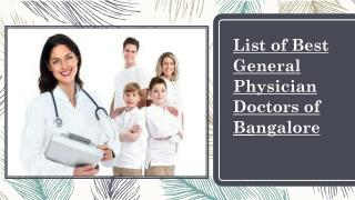 List of best general physician doctors of Bengaluru - Curecity