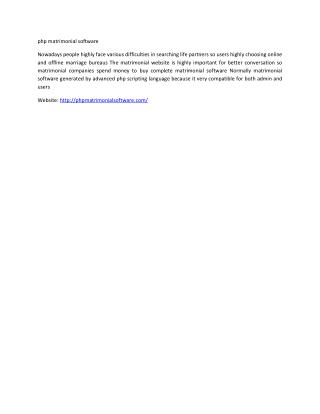 php matrimonial software