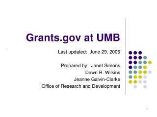 Grants at UMB