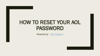 How to Reset your AOL password