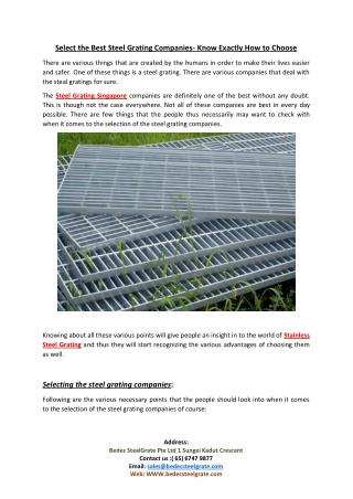 Select the Best Steel Grating Companies- Know Exactly How to Choose