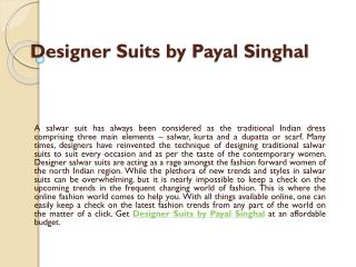 Designer Suits by Payal Singhal