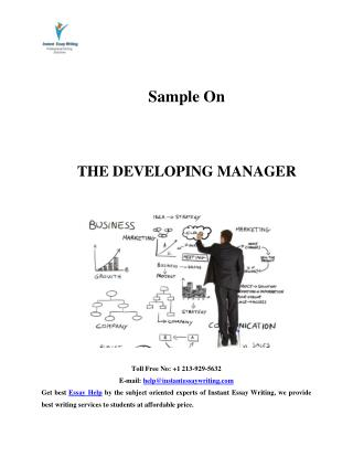 Sample Report on The Developing Manager By Instant Essay Writing