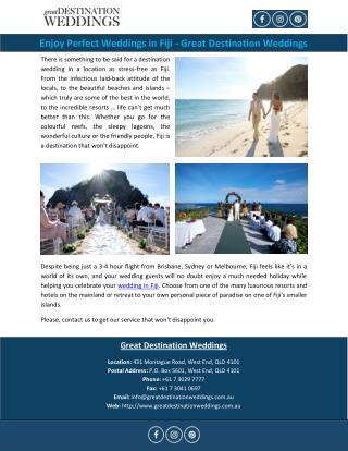 Enjoy Perfect Weddings in Fiji - Great Destination Weddings