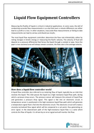 Flow Measurement and Control System: Proteus Industries Inc.