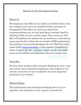 Reviews by Our Prestigious Clients - corporateranking.com