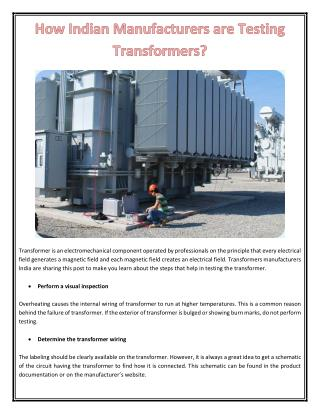How Indian Manufacturers are Testing Transformers?