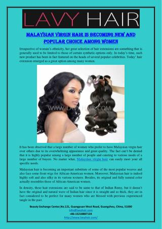 Malaysian Virgin Hair Is Becoming New And Popular Choice Among Women
