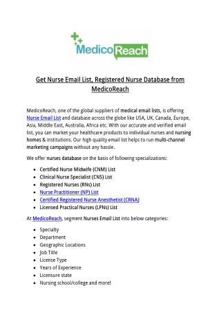 Get Nurse Email List, Registered Nurse Database from MedicoReach