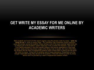 Write My Essay Australia - Online Write My Essay Service by UK Experts