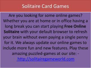 Feel the force of enchanting attempt Solitaire Card Game