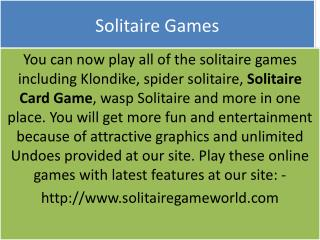 The most effective method to play your most loved Solitaire at Solitairegameworld