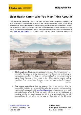 Elder Health Care – Why You Must Think About It
