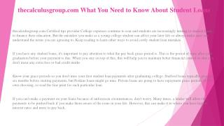thecalculusgroup.com What You Must Know About Student Loans