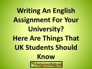 University Assignment Writing Help