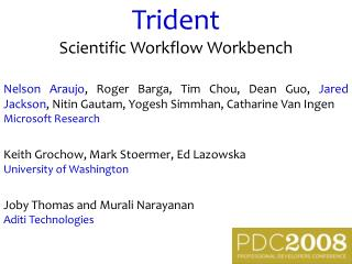 Trident Scientific Workflow Workbench