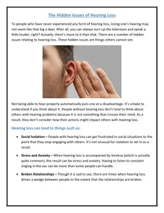 The Hidden Issues of Hearing Loss