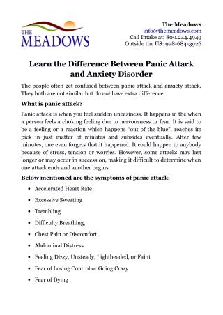 Learn the Difference Between Panic Attack and Anxiety Disorder