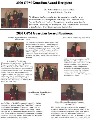 2000 OPM Guardian Award Recipient