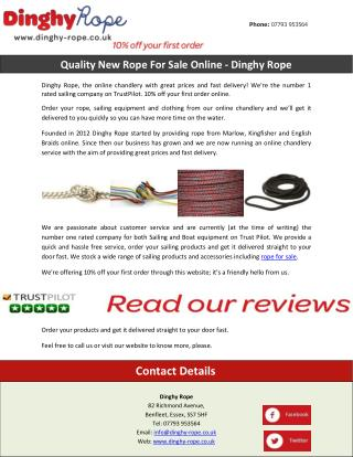 Quality New Rope For Sale Online - Dinghy Rope