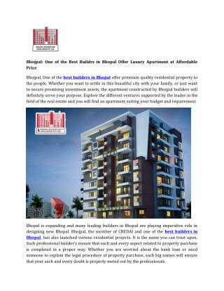 Bhojpal: One of the Best Buildrs in Bhopal Offer Luxury Apartment at Affordable Price