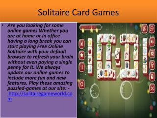 Play Free Solitaire Games (Klondike) 100% free