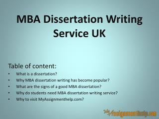 MBA Dissertation Writing Service UK
