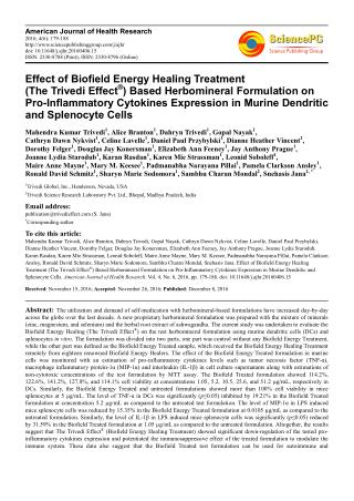 Effect of Biofield Energy Healing Treatment (The Trivedi Effect®) Based Herbomineral Formulation on Pro-Inflammatory Cyt