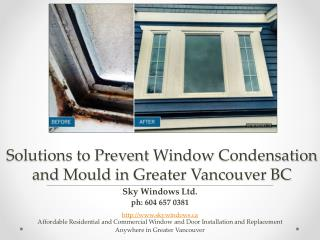 Solutions to Prevent Window Condensation and Mould in Greater Vancouver Area
