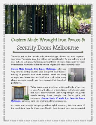 Custom Made Wrought Iron Fences Melbourne