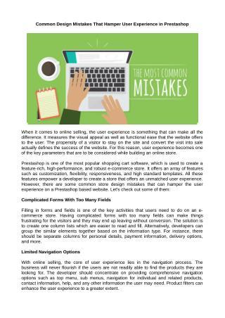 Common Design Mistakes That Hamper User Experience in Prestashop