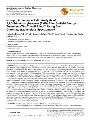 Isotopic Abundance Ratio Analysis of 1,2,3-Trimethoxybenzene (TMB) After Biofield Energy Treatment (The Trivedi Effect®)