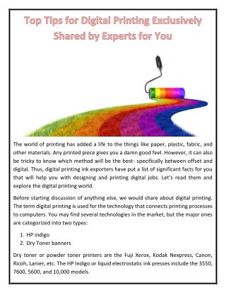 Top Tips for Digital Printing Exclusively Shared by Experts for You