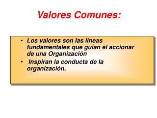 Valores Comunes: