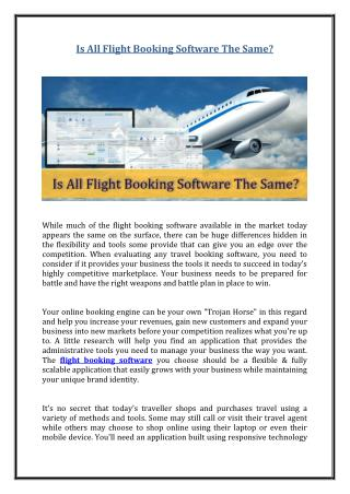 Is All Flight Booking Software The Same?