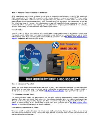 HP Printer Technical Support Phone Number 1-800-956-0247