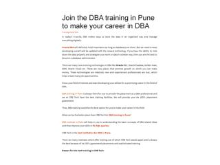 Join the DBA training in Pune to make your career in DBA