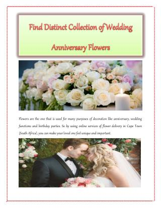 Find Distinct Collection of Wedding Anniversary Flowers