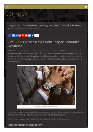 Jaeger LeCoultre Watches Unveiling Geophysic Tourbillon Universal