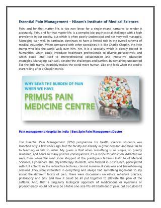 Pain Management Hospital india