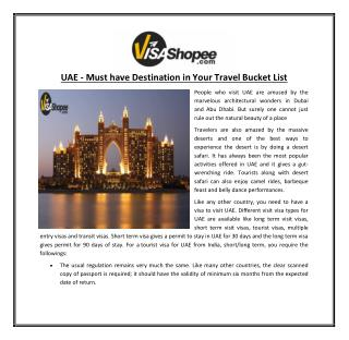 UAE- Must have Destination in Your Travel Bucket List