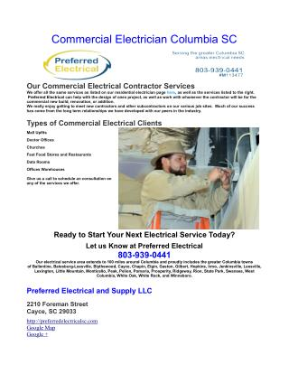 Commercial Electrician Columbia SC