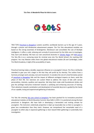 Trio Tots- A Wonderful Place for kids to Learn