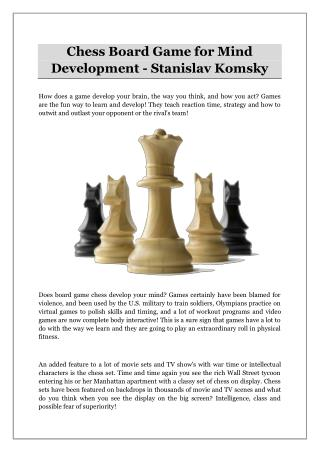 Chess Board Game for Mind Development - Stanislav Komsky