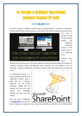 Brilliant SharePoint Intranet Contact SP Jedi