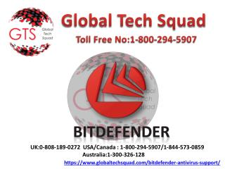 Bitdefender antivirus Support Toll-Free: 1-800-294-5907