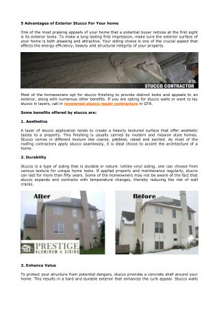 5 Advantages of Exterior Stucco For Your home