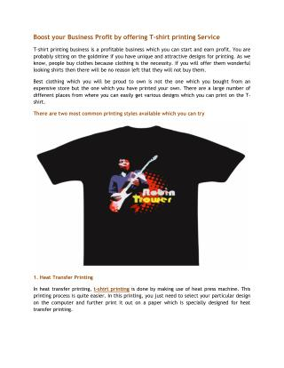 Boost your Business Profit by offering T-shirt printing Service