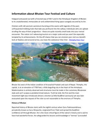 Information about Bhutan Tour Festival and Culture