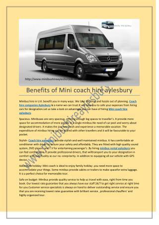 Mini coach hire aylesbury